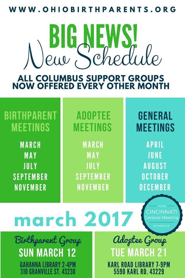 New Schedule for Columbus Support Meetings!
